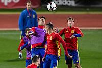 Spainsh Alvaro morata and Lucas Vazquez during the training of the spanish national football team in the city of football of Las Rozas in Madrid, Spain. November 08, 2016. (ALTERPHOTOS/Rodrigo Jimenez) ///NORTEPHOTO.COM