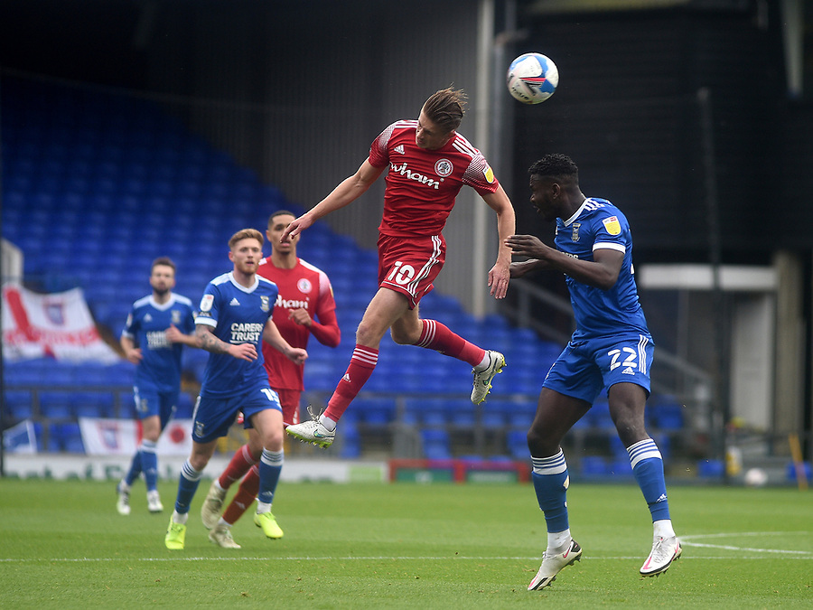 Accrington Stanley's Joe Pritchard battles with Ipswich Town's Aristote Nsiala<br /> <br /> Photographer Hannah Fountain/CameraSport<br /> <br /> The EFL Sky Bet League One - Ipswich Town v Accrington Stanley - Saturday 17th October 2020 - Portman Road - Ipswich<br /> <br /> World Copyright © 2020 CameraSport. All rights reserved. 43 Linden Ave. Countesthorpe. Leicester. England. LE8 5PG - Tel: +44 (0) 116 277 4147 - admin@camerasport.com - www.camerasport.com