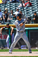 Carlos Asuaje (2) of the El Paso Chihuahuas at bat against the Salt Lake Bees in Pacific Coast League action at Smith's Ballpark on April 24, 2016 in Salt Lake City, Utah. This was Game 1 of a double-header.  El Paso defeated Salt Lake 7-0. (Stephen Smith/Four Seam Images)