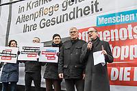 """Protestkundgebung der Linkspartei vor dem Bundesministerium fuer Gesundheit in Berlin unter dem Motto """"Menschen vor Profite: Pflegenotstand stoppen!""""  am Freitag den 6. Maerz 2020.<br /> Mit einem Großtransparent """"Personalmangel in Krankenhaus und Altenpflege gefaehrdet Ihre Gesundheit"""" protestierten Mitglieder der Partei vor dem Eingang des Ministeriums gegen die """"verheerende Situation in der Pflege"""".<br /> Der Parteivorsitzende Bernd Riexinger (2.vr. im Bild) machte auf die Missstaende gerade waehrend der aktuellen Conora-Krise aufmerksam und forderte 100 000 Pflegekraefte in Krankenhaeusern und 120 000 Pflegekraefte mehr in der Altenpflege einzustellen und 500,- Euro im Monat mehr Grundgehalt in der Pflege.<br /> Rechts im Bild: Dr. Achim Kessler, Sprecher fuer Gesundheitspolitik der Fraktion DIE LINKE im Bundestag.<br /> 6.3.2020, Berlin<br /> Copyright: Christian-Ditsch.de<br /> [NUR FUER REDAKTIONELLE ZWECKE! Werbung nur auf Anfrage beim Fotografen. Inhaltsveraendernde Manipulation des Fotos nur nach ausdruecklicher Genehmigung des Fotografen. Vereinbarungen ueber Abtretung von Persoenlichkeitsrechten/Model Release der abgebildeten Person/Personen liegen nicht vor. NO MODEL RELEASE! Don't publish without copyright Christian-Ditsch.de, Veroeffentlichung nur mit Fotografennennung, sowie gegen Honorar, MwSt. und Beleg. Konto: I N G - D i B a, IBAN DE58500105175400192269, BIC INGDDEFFXXX, Kontakt: post@christian-ditsch.de<br /> Bei der Bearbeitung der Dateiinformationen darf die Urheberkennzeichnung in den EXIF- und  IPTC-Daten nicht entfernt werden, diese sind in digitalen Medien nach §95c UrhG rechtlich geschuetzt. Der Urhebervermerk wird gemaess §13 UrhG verlangt.]"""