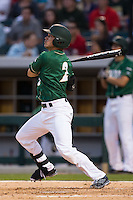 Brad Elwood (2) of the Charlotte 49ers follows through on his swing against the North Carolina State Wolfpack at BB&T Ballpark on March 31, 2015 in Charlotte, North Carolina.  The Wolfpack defeated the 49ers 10-6.  (Brian Westerholt/Four Seam Images)