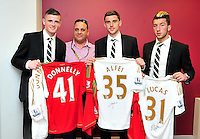 Swansea city fc sponsor awards... saturday 19th may 2013...<br /> <br /> <br /> <br /> Rory Donnelly, Daniel Alfei, Lee Lucas