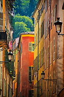 Colorful old town buildings and narrow streets at the foot of the castle hill, Nice, French Riviera (Côte d'Azur) France