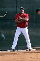 Pitching coach Mike Harkey of the Arizona Diamondbacks participates in the first day of spring training workouts at Salt River Fields on February 7, 2014 in Scottsdale, Arizona (Bill Mitchell)
