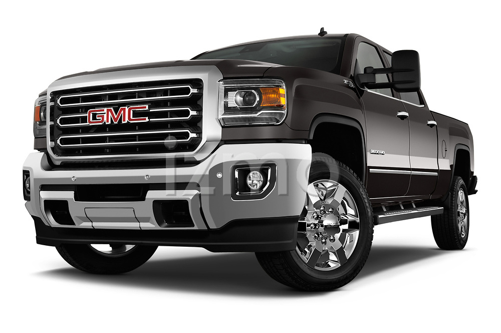 Stock pictures of low aggressive front three quarter view of a 2019 GMC Sierra 2500HD 2WD Crew Cab Standard Box SLT 4 Door Pick Up