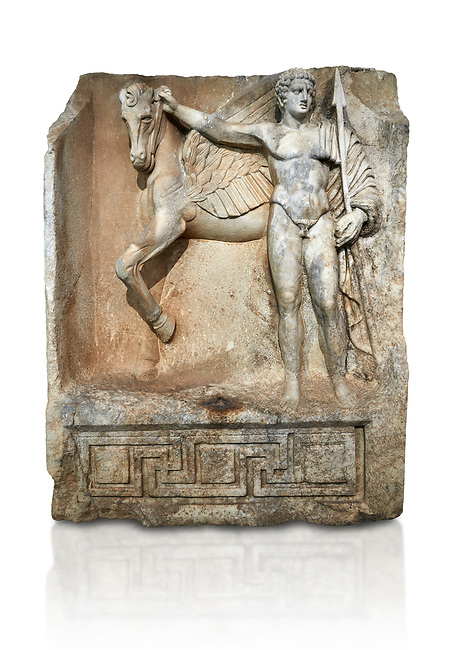 "Roman Sebasteion relief  sculpture of  Bellerophon Aphrodisias Museum, Aphrodisias, Turkey.    Against a white background.<br /> <br /> Bellerophon was a Lykian hero and was claimed as a founder of Aphrodisias. He holds his winged horse Pegasos. The deign was modelled on another relief panel in the series ""Royal hero with Dod Hunting"". The carving is poor and the sculptor may have been a novice.modelled"
