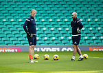 Celtic v St Johnstone…12.05.21  SPFL Celtic Park<br />On loan keeper Zdenek Zlamal pictured with goalkeeping coach Paul Mathers<br />Picture by Graeme Hart.<br />Copyright Perthshire Picture Agency<br />Tel: 01738 623350  Mobile: 07990 594431