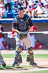 11 March 2014: New York Yankees catcher Brian McCann in action during a Spring Training game against the Washington Nationals at Space Coast Stadium in Viera, Florida. The Nationals defeated the Yankees 3-2 in Grapefruit League play. Mandatory Credit: Ed Wolfstein Photo *** RAW (NEF) Image File Available ***