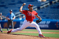 Philadelphia Phillies relief pitcher Mauricio Llovera (91) delivers a pitch during a Grapefruit League Spring Training game against the Baltimore Orioles on February 28, 2019 at Spectrum Field in Clearwater, Florida.  Orioles tied the Phillies 5-5.  (Mike Janes/Four Seam Images)