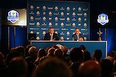 Ryder Cup Captain Paul McGinley announces that Ian Poulter (ENG), Stephen Gallacher (SCO) and Lee Westwood (ENG) are his Captain's Picks, during the Team Europe Ryder Cup Press Conference at the Wentworth Club, Virginia Waters, England. Picture:  David Lloyd / www.golffile.ie