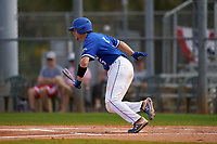 Indiana State Sycamores Grant Magill (5) bats during a game against the Chicago State Cougars on February 23, 2020 at North Charlotte Regional Park in Port Charlotte, Florida.  Chicago State defeated Indiana State 3-0.  (Mike Janes/Four Seam Images)