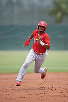 GCL Cardinals second baseman Moises Castillo (4) runs the bases during a game against the GCL Mets on July 23, 2017 at Roger Dean Stadium Complex in Jupiter, Florida.  GCL Cardinals defeated the GCL Mets 5-3.  (Mike Janes/Four Seam Images)