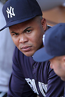 New York Yankees outfielder Andruw Jones #18 before a game against the Los Angeles Angels at Angel Stadium on September 10, 2011 in Anaheim,California. Los Angeles defeated New York 6-0.(Larry Goren/Four Seam Images)
