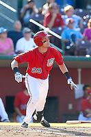 Michael Snyder #29  of the Inland Empire 66ers bats against the Visalia Rawhide at San Manuel Stadium on August 11, 2013 in San Bernardino, California. Visalia defeated Inland Empire, 11-1. (Larry Goren/Four Seam Images)