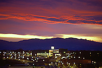 Night view of Pueblo with sunset. Rawlings Library