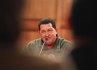 Venezuelan President Hugo Chavez speaks during a press conference with foreign media to analize the results of the election for governors and mayors last Sunday in Caracas...