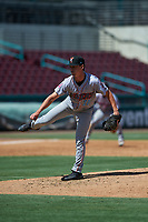 Inland Empire 66ers relief pitcher Austin Warren (10) during a California League game against the Lake Elsinore Storm on April 14, 2019 at The Diamond in Lake Elsinore, California. Lake Elsinore defeated Inland Empire 5-3. (Zachary Lucy/Four Seam Images)