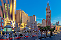 Looking across the Las Vegas Strip at the Venetian as the sun is going down.