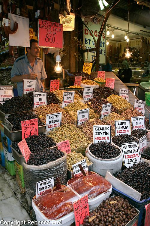 Olives for sale, Eminonu, Istanbul, Turkey