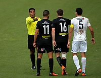 Referee Norbert Hauata makes a point during the Oceania Football Championship final (second leg) football match between Team Wellington and Auckland City FC at David Farrington Park in Wellington, New Zealand on Sunday, 7 May 2017. Photo: Mike Moran / lintottphoto.co.nz
