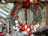 London's Luxury Shopping destination, the Burlington Arcade in Piccadilly, now has it's usual high quality Christmas decorations on display, despite being in lockdown, none of it's stores can currently be opened. Burlington Arcade, Piccadilly, London. November 19th 2020<br /> <br /> Photo by Keith Mayhew