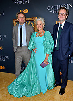 """LOS ANGELES, USA. October 18, 2019: Jason Clarke, Helen Mirren & Philip Martin  at the premiere of HBO's """"Catherine the Great"""" at the Hammer Museum.<br /> Picture: Paul Smith/Featureflash"""