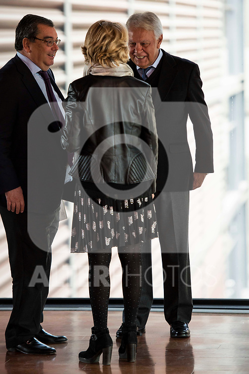 Felipe Gonzalez and Esperanza Aguirre attends to the act of imposition of the great cross of the civil order of Alfonso X el Sabio to D. Francisco Luzon Lopez at Reina Sofia Museum in Madrid. March 13, 2017. (ALTERPHOTOS/Borja B.Hojas)