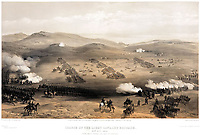 BNPS.co.uk (01202) 558833. <br /> Pic: DNW/BNPS<br /> <br /> Pictured: The Battle of Balaklava on October 25, 1854.<br /> <br /> The medals of two men who took place in the doomed Charge of the Light Brigade are expected to sell for over £10,000.<br /> <br /> Private James Gusterson and Private John Brown were among the 600 men who wrote into the 'Valley of Death' in the near-suicidal action immortalised in Alfred Tennyson's famous poem.<br /> <br /> Londoner Pte Gusterson, of the 11th Hussars, was an unlikely participant as he was the camp cook but he volunteered for action at the Battle of Balaklava on October 25, 1854.<br /> <br /> However, he survived the battle, unlike Pte Brown, from Antrim, Ireland, of the 8th Hussars, who was severely wounded and died two months later in a Turkish hospital.<br /> <br /> Pte Brown's Crimea Medal is valued at £7,000, while Pte Gusterson's medal, with Alma, Balaklava and Sebastopol clasps, could go for £3,600 with London-based auctioneers Dix Noonan Webb.