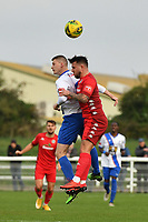 Reece Myles-Meekums of Worthing and Ryan Kirwan of Enfield Town during Enfield Town vs Worthing, Pitching In Isthmian League Premier Division Football at the Queen Elizabeth II Stadium on 16th October 2021