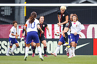 14 MAY 2011: USA Women's National Team midfielder Megan Rapinoe (15) heads the ball during the International Friendly soccer match between Japan WNT vs USA WNT at Crew Stadium in Columbus, Ohio.
