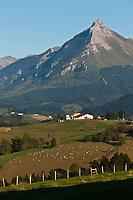 Europe/Espagne/Pays Basque/Guipuscoa/Goierri/Env de Lazkao: Lacaumendi, paysage de montagne avec en fond  le Txindoki 1342 m