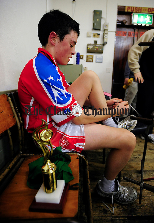 Conor Stack,Ennis, with his winners trophy at Ennis Boxing Club.Pic Arthur Ellis.