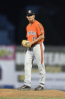Aberdeen IronBirds pitcher Josh Walker (19) gets ready to deliver a pitch during a game against the Williamsport Crosscutters on August 4, 2014 at Bowman Field in Williamsport, Pennsylvania.  Aberdeen defeated Williamsport 6-3.  (Mike Janes/Four Seam Images)