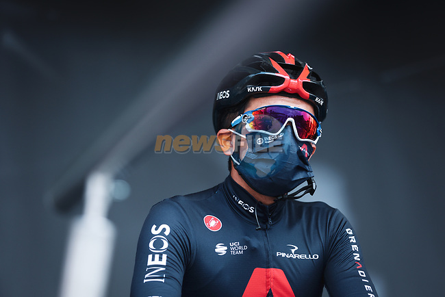 Richard Carapaz (ECU) Ineos Grenadiers at the team presentations before the start of the 107th edition of Liege-Bastogne-Liege 2021, running 259.1km from Liege to Liege, Belgium. 25th April 2021.  <br /> Picture: A.S.O./Aurelien Vialatte | Cyclefile<br /> <br /> All photos usage must carry mandatory copyright credit (© Cyclefile | A.S.O./Aurelien Vialatte)
