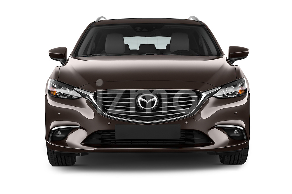 Car photography straight front view of a 2015 Mazda Mazda 6 Skycruse 5 Door Wagon Front View