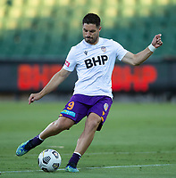 27th March 2021; HBF Park, Perth, Western Australia, Australia; A League Football, Perth Glory versus Newcastle Jets; Bruno Fornaroli Mezza of the Perth Glory has a shot on goal during the warm ups