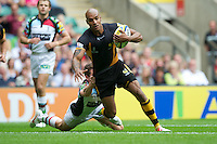 Tom Varndell of London Wasps scores a try during the Aviva Premiership match between London Wasps and Harlequins at Twickenham on Saturday 1st September 2012 (Photo by Rob Munro)..