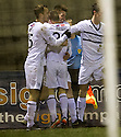 Raith Rovers' Dougie Hill (third left) celebrates after he scores the equaliser.