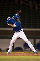 AZL Cubs 1 right fielder Yovanny Cuevas (21) at bat during an Arizona League game against the AZL Diamondbacks at Sloan Park on June 18, 2018 in Mesa, Arizona. AZL Diamondbacks defeated AZL Cubs 1 7-0. (Zachary Lucy/Four Seam Images)