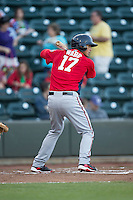 Drew Ward (17) of the Potomac Nationals at bat against the Winston-Salem Dash at BB&T Ballpark on May 13, 2016 in Winston-Salem, North Carolina.  The Dash defeated the Nationals 5-4 in 11 innings.  (Brian Westerholt/Four Seam Images)