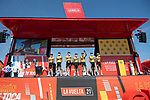 Jumbo-Visma best team from yesterday's stage at sign on before the start of Stage 16 of La Vuelta d'Espana 2021, running 180km from Laredo to Santa Cruz de Bezana, Spain. 31st August 2021.     <br /> Picture: Cxcling   Cyclefile<br /> <br /> All photos usage must carry mandatory copyright credit (© Cyclefile   Cxcling)