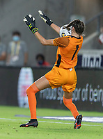 HOUSTON, TX - JUNE 13: Sydney Schneider #1 of Jamaica has the ball hit her in the face during a game between Jamaica and USWNT at BBVA Stadium on June 13, 2021 in Houston, Texas.