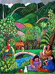 """""""Meeting at the Rainbow Bridge Cafe""""<br /> Limited Edition Giclee<br /> AP 26.5 x 20 on Paper w/Watercolor Remarque<br /> $1,600<br /> <br /> Imagine Guy's expression when he heard that pets await you after they pass away across the Rainbow Bridge! He went immediately to his easel and this is the lovely result."""