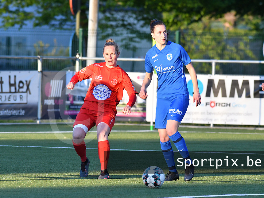 Stefanie Deville (3) of Woluwe and Gwen Duijsters (13) of KRC Genk in action during a female soccer game between  Racing Genk Ladies and White Star Woluwe on the 8 th matchday of play off 2 in the 2020 - 2021 season of Belgian Scooore Womens Super League , tuesday 18 th of May 2021  in Genk , Belgium . PHOTO SPORTPIX.BE | SPP | JILL DELSAUX