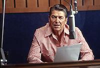 Ronald Reagan delivering radio address, 1978. Photo by John G. Zimmerman.