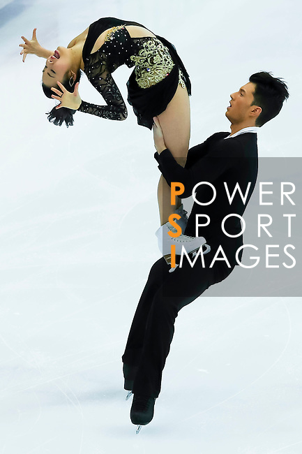 TAIPEI, TAIWAN - JANUARY 23:  Emi Hirai and Marien de la Asuncion of Japan perform their routine at the Ice Dance Free Dance event during the Four Continents Figure Skating Championships on January 23, 2014 in Taipei, Taiwan.  Photo by Victor Fraile / Power Sport Images *** Local Caption *** Emi Hirai; Marien de la Asuncion