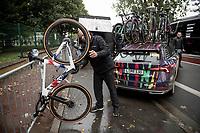 Alice Barnes (GBR/Canyon SRAM) bike cleaned post-race on an impromptu bike-rack<br /> <br /> Inaugural Paris-Roubaix Femmes 2021 (1.WWT)<br /> One day race from Denain to Roubaix (FRA)(116.4km)<br /> <br /> ©kramon