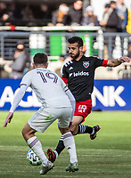 WASHINGTON, DC - FEBRUARY 29: Jack Price #19 of the Colorado Rapids defends against Felipe Martins #18 of DC United during a game between Colorado Rapids and D.C. United at Audi Field on February 29, 2020 in Washington, DC.