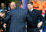 St Johnstone v Rangers…22.09.19   McDiarmid Park   SPFL<br />Tommy Wright greets Steven Gerrard and Gary McAllister<br />Picture by Graeme Hart.<br />Copyright Perthshire Picture Agency<br />Tel: 01738 623350  Mobile: 07990 594431