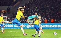 Kopfballchance fuer Sandro Wagner (Deutschland Germany) gegen Miranda (Brasilien Brasilia) und Thiago Silva (Brasilien Brasilia) - 27.03.2018: Deutschland vs. Brasilien, Olympiastadion Berlin